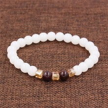 7mm Natural White Chalcedony Bracelets & Bangle For Women Jewelry Buddha Elastic Yoga Stone Bead Bracelet Drop Shipping