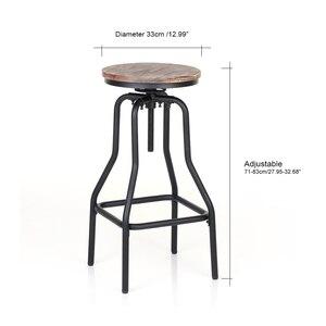Image 4 - Барные стулья iKayaa, стильные регулируемые по высоте вращающиеся барные стулья, натуральная сосна, верхняя кухня, барная мебель