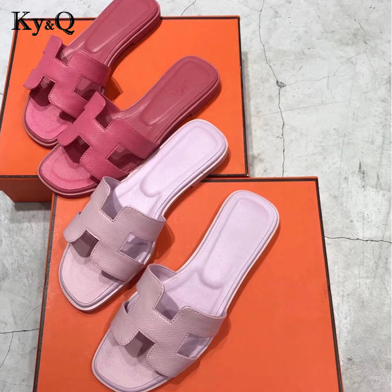 dd0b70bc7c4 Luxury Brand New Slippers Cut Out Summer Beach Sandals Fashion Women Slides  Outdoor Slippers Indoor Slip