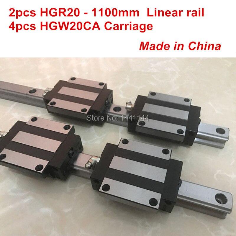 HGR20 linear guide: 2pcs HGR20 - 1100mm + 4pcs HGW20CA linear block carriage CNC parts hg linear guide 2pcs hgr20 850mm 4pcs hgw20ca linear block carriage cnc parts