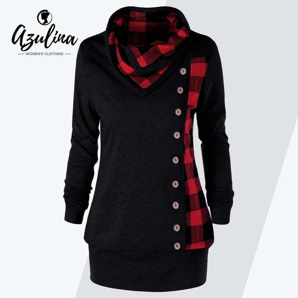 AZULINA Plus Size Plaid Buttons Women Sweatshirt Cowl Neck L
