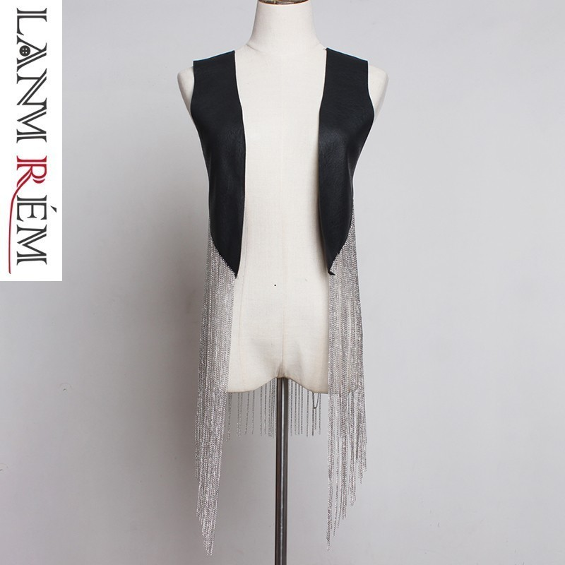 LANMREM 2019 Spring summer fashion pwesonality waistcoat for women Hip Hop Chain Long Tassels Pu Leather Vest Loose Coat YH48901