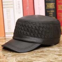 Haining Genuine Leather Service Cap Man Season Imitate Deer Sheepskin Weave Peaked Cap Outdoors Leisure Time Leather Hat