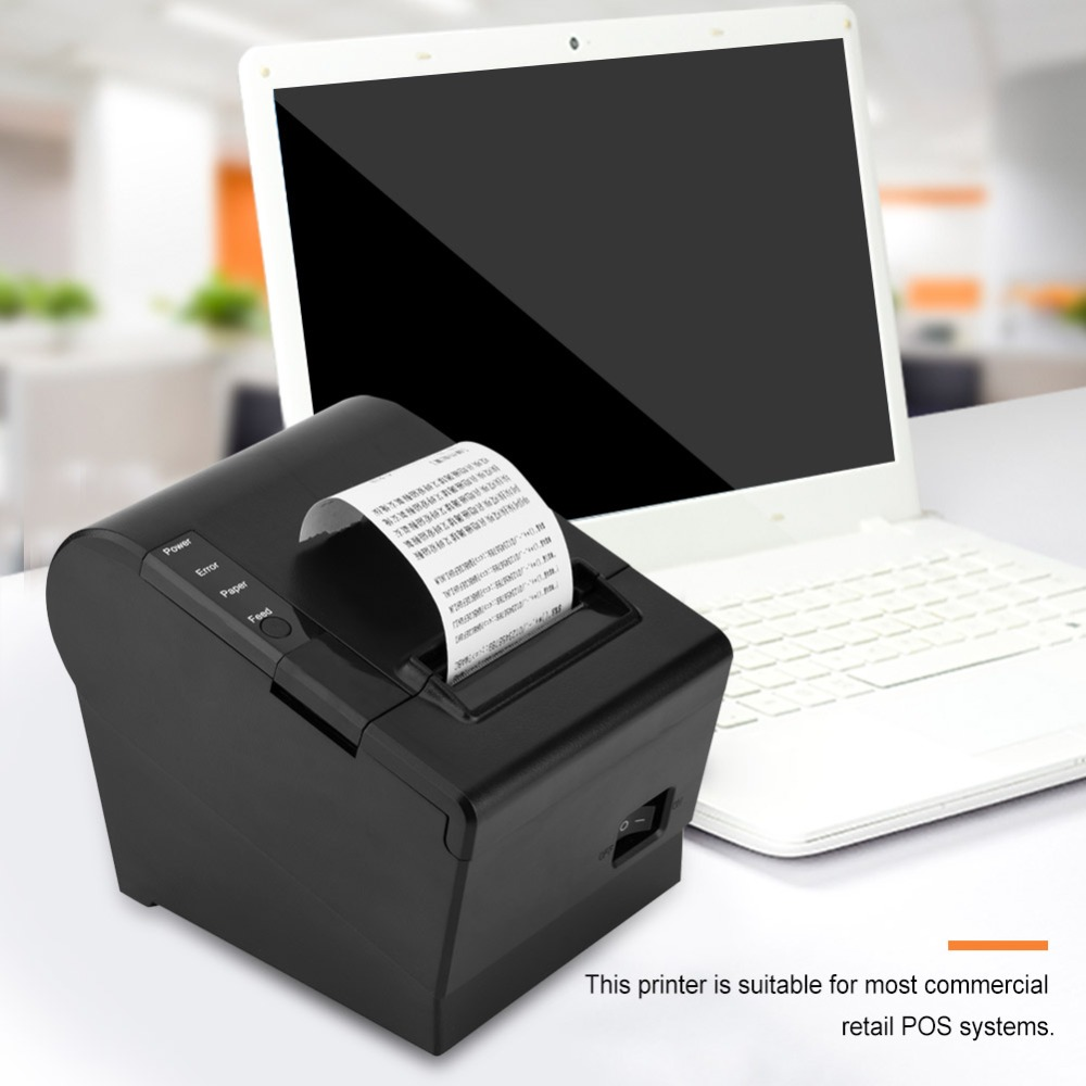 80mm thermal printer pos printer Automatic cutting USB Serial LAN interface For restaurant Kitchen Supermarket Printer
