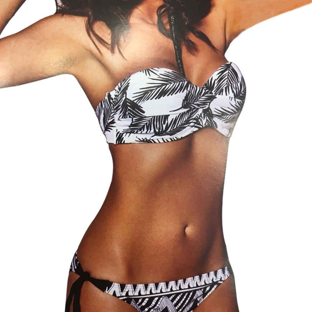 Сексуальный Siwmear Женский бандо Бикини Набор бандаж бантик бюстгальтер с вкладышами пуш ап бикини купальник из двух частей купальный костюм