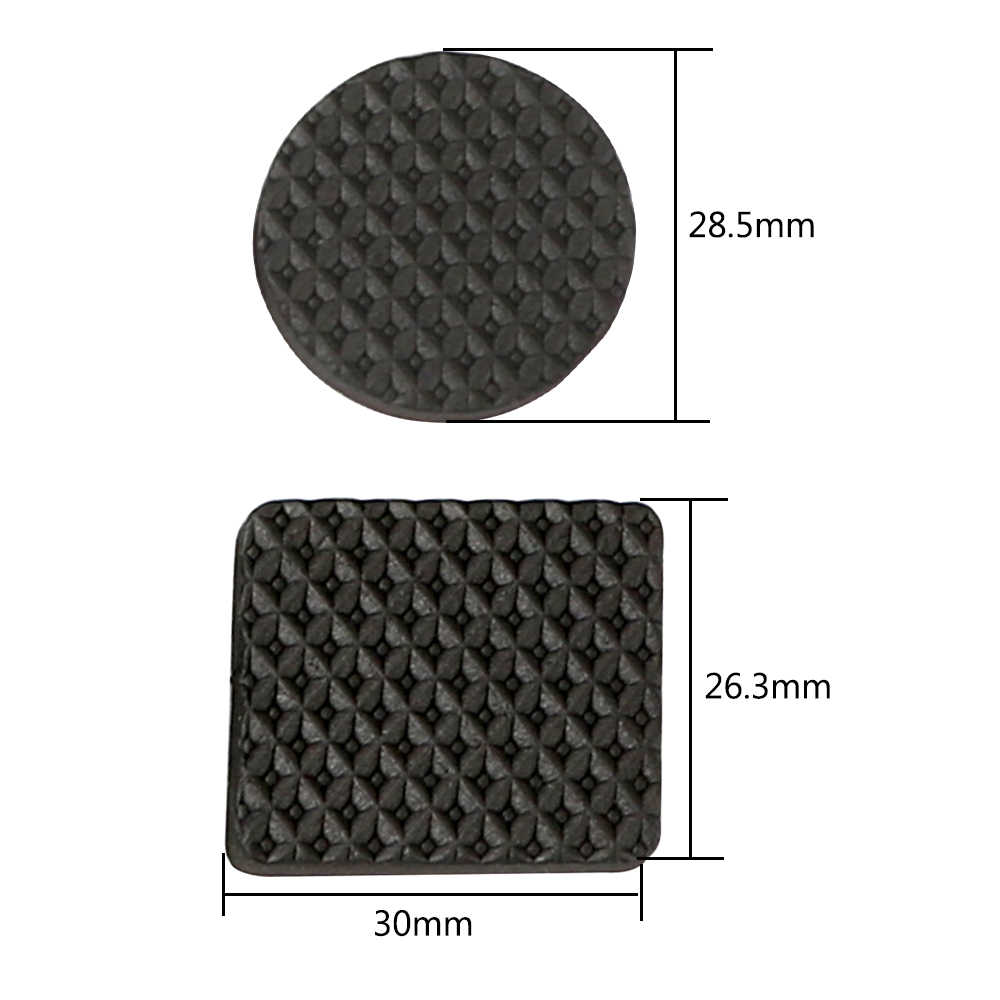 Black 30pcs Rubber Table Feet No Slip Pad Round Square Sofa Chair Leg Sticky