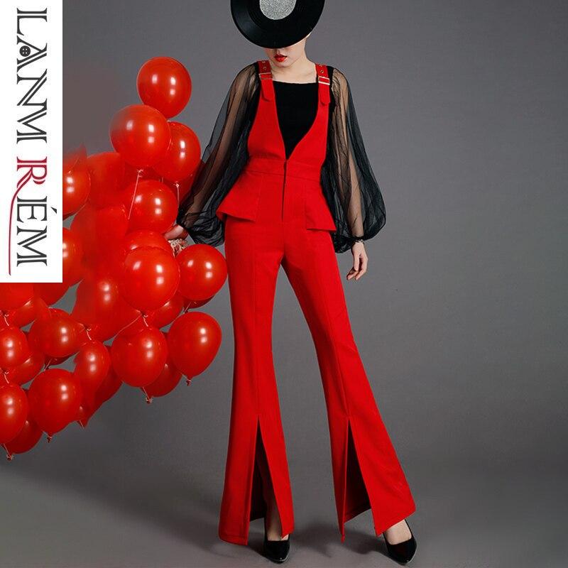 Noir Haute Lâche Femmes Pour Rouge Cloche fonds Pantalon Salopette Pants 2019 Qualty Black Coréen Lanmrem Jambe Évent Pants Les Yg684 Stylé red Bas Large qS4xvzwfEZ