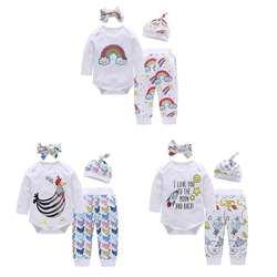 Комплект из 4 предметов для новорожденных с милым принтом и длинными рукавами, комбинезон, штаны, повязка на голову, шапка