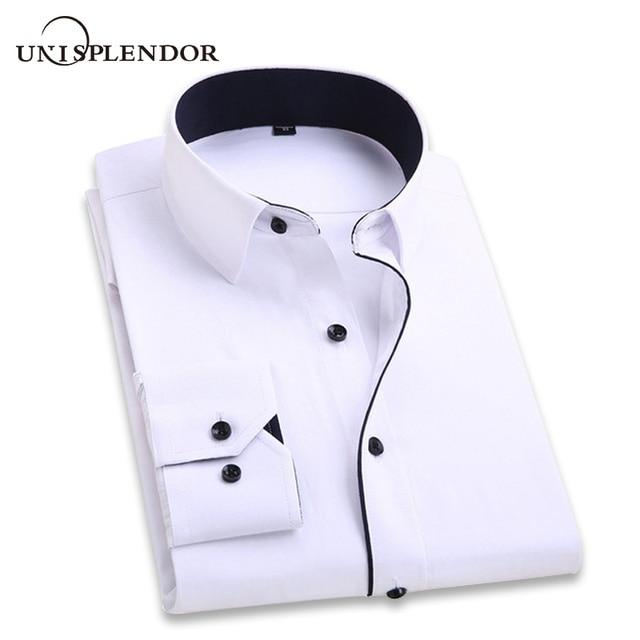 2019 camisa de la boda de los hombres de manga larga de los hombres del vestido de las camisas del partido del negocio del hombre sólido Casual de la camisa del trabajo Formal Delgado Masculino camisa YN554