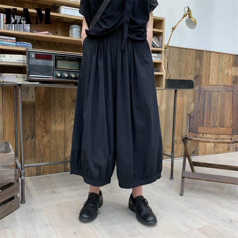 [EAM] 2019 New Spring Summer High Elastic Waist Loose Leisure Black   Wide     Leg     Pants   Women Trousers Fashion Tide All-match JS77101