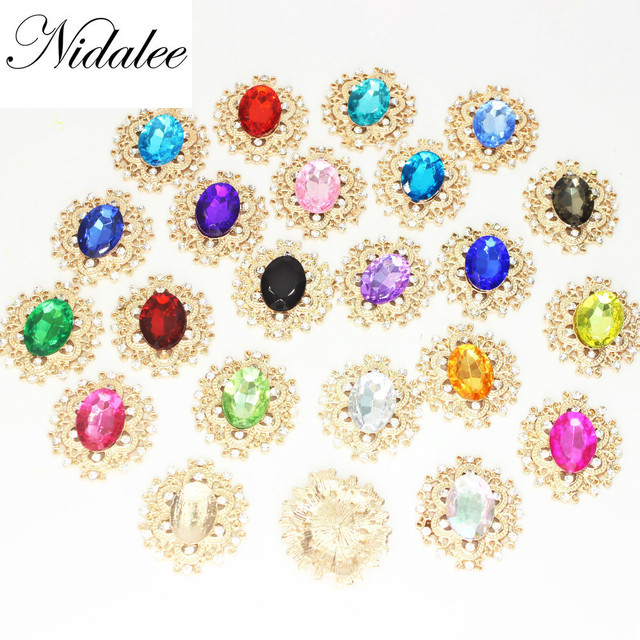 c829140958 US $5.85 25% OFF|Oval Acrylic Diamond Rhinestone Flatback Gem Buttons DIY  Clothing Applique Metal Craft Decoration for Bridal Embellishment Dress-in  ...