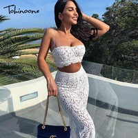 Tobinoone Hollow Out Elegant Party 2 Piece Set Women Floral Slash Neck Lace Two Piece Set Long Sleeve Sexy Women Set Outfits