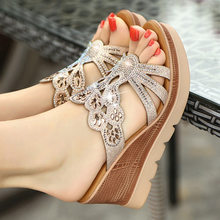 2019 Women Sandals summer shoes crystal high heel wedge sandals woman slippers 8 cm heels party wedding sandals big size 34-43(China)