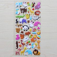 1 Sheet ' Cute Animals A ' Diary Decoration Kids Stickers 3D PVC Korea Stationery Kindergarten Baby Gift Children Toys(China)