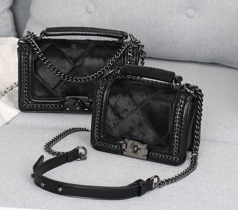 d76ac8549714 Меховые сумки Для женщин конского волоса небольшой лоскут Алмазная цепочка  из натуральной кожи сумка через плечо