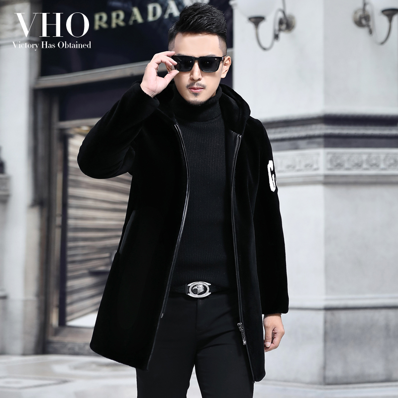 VHO Coat Handsome Jacket Shearling Real-Fur Motorcycle/biker Thick Natural Genuine-Leather