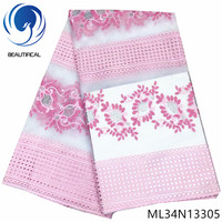 BEAUTIFICAL nigerian polyester lace fabrics embroidery 5 yards french net lace fabric tulle african ML34N133