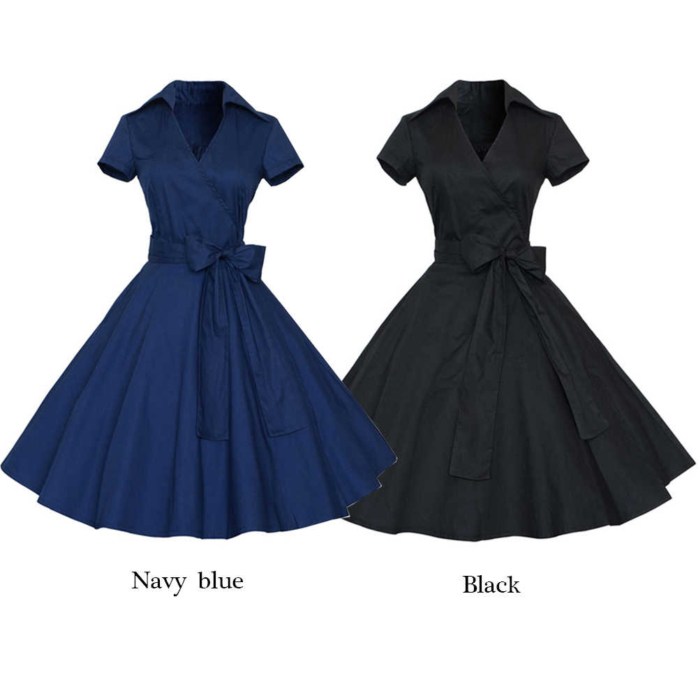 Kenancy Solid Women'S Vintage Dress Summer Lapel Short Sleeve Belted Retro Dress High Waist A-Line Swing Party Dresses Cotton