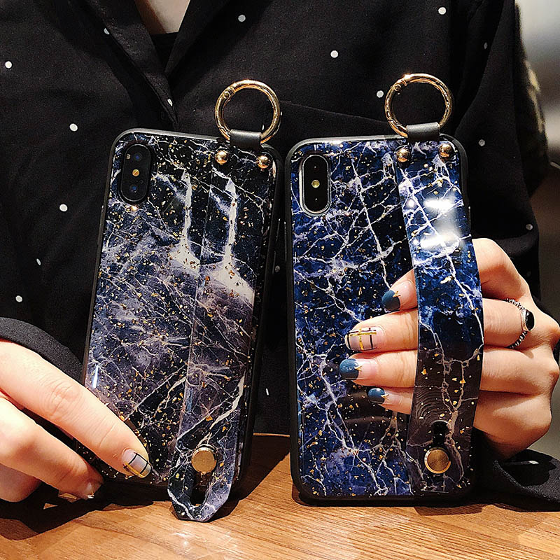 Bling Marble Design Wrist Band Case For Iphone X XR XS Max 6 6S 7 8 Plus Finger Ring Holder Soft TPU Cover Kickstand Coque Capa