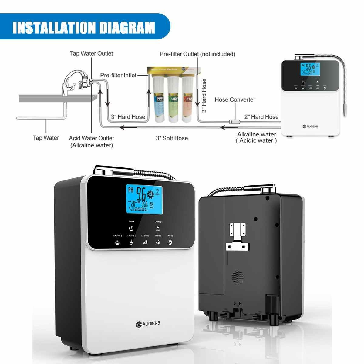 Augienb 12000L Máquina PH3.5-11 Ácido Alcalina Ionizador Purificador De Água Ajustar 5 Configurações do Modo de Auto-Limpeza do LCD Toque Filtro de Água