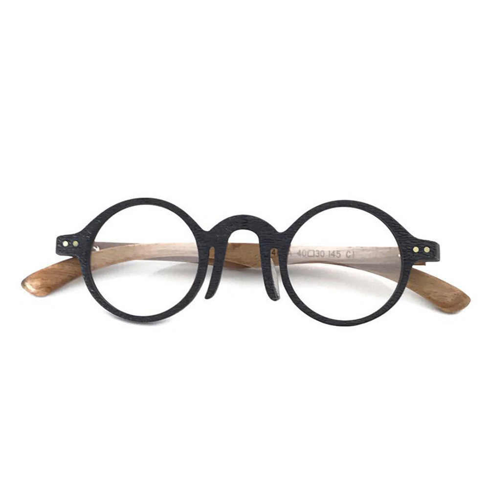 a20c9321bf73 Retro Round Eyewear Frames Women Men Handmade Optical Glasses Frames Vintage  Wood Spectacles Myopia Prescription Eyeglasses