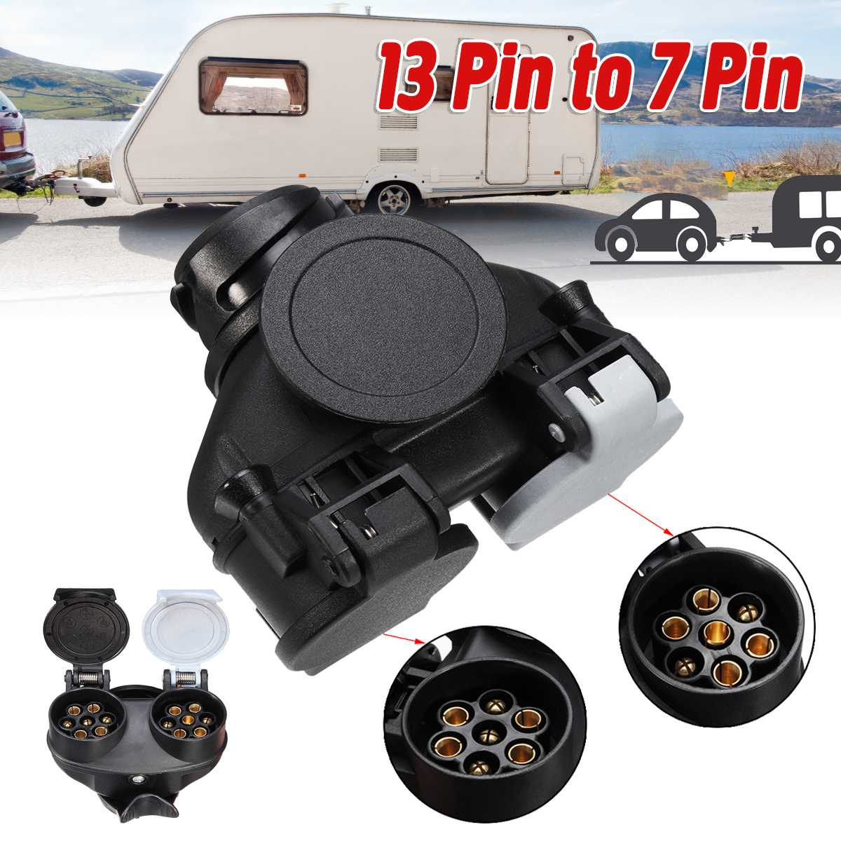 13 Pin To 7 Pin  Double-head Connector RV Trailer Power Connector Plug Socket Connector Waterproof Conversion Adapter