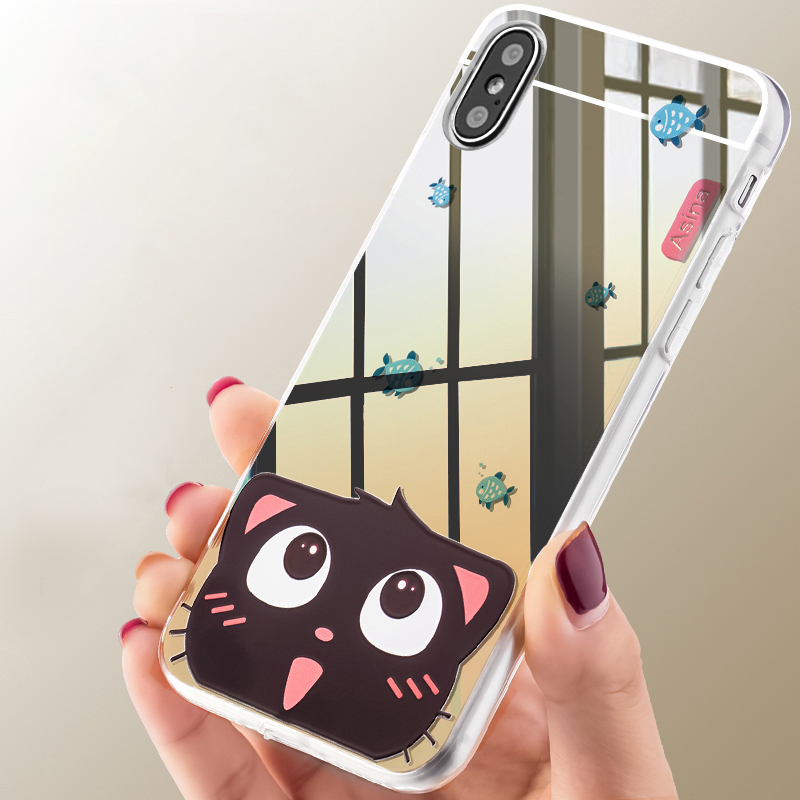 Cases Luxury Mirror TPU Soft Silicone Case For iPhone X Shell Cover Clear Flash Fashion