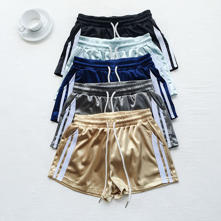 Mooirue Summer Satin   Shorts   Bottom Female Solid Elastic High Waist Gold Blue Wide Leg Trouser Student Casual Sexy Wear Bottoms