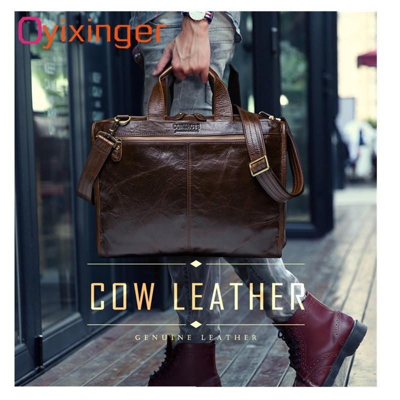 Oyixinger sac pour hommes Top qualité cuir de vachette pour malette pour homme sacs hommes sacs à bandoulière sacs à main de luxe sac de voyage Maletas