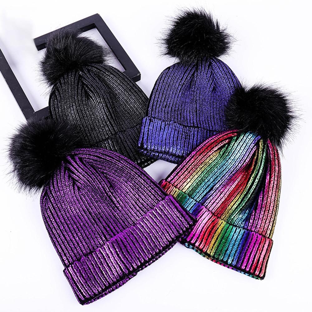 1pc Mink Fox Fur Ball Cap Pom Poms Autumn Winter Hats For Women Girls Hat Knitted Beanies Cap Brand Metallic Shiny Female Cap