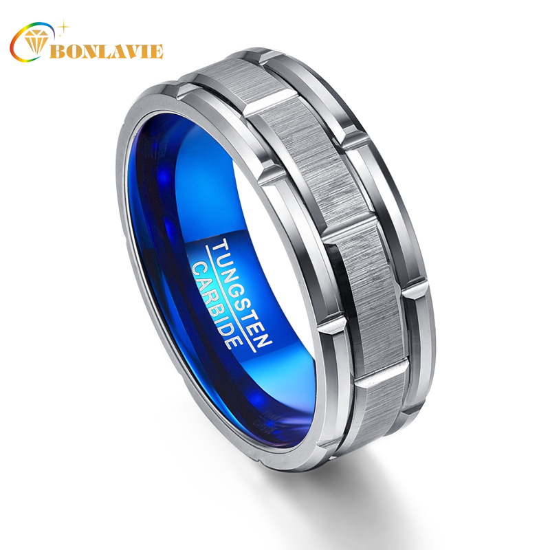 T062R Unique Engagement Ring Combination Ring Hole Blue 8MM Wide Tungsten Steel Ring Size 7 12