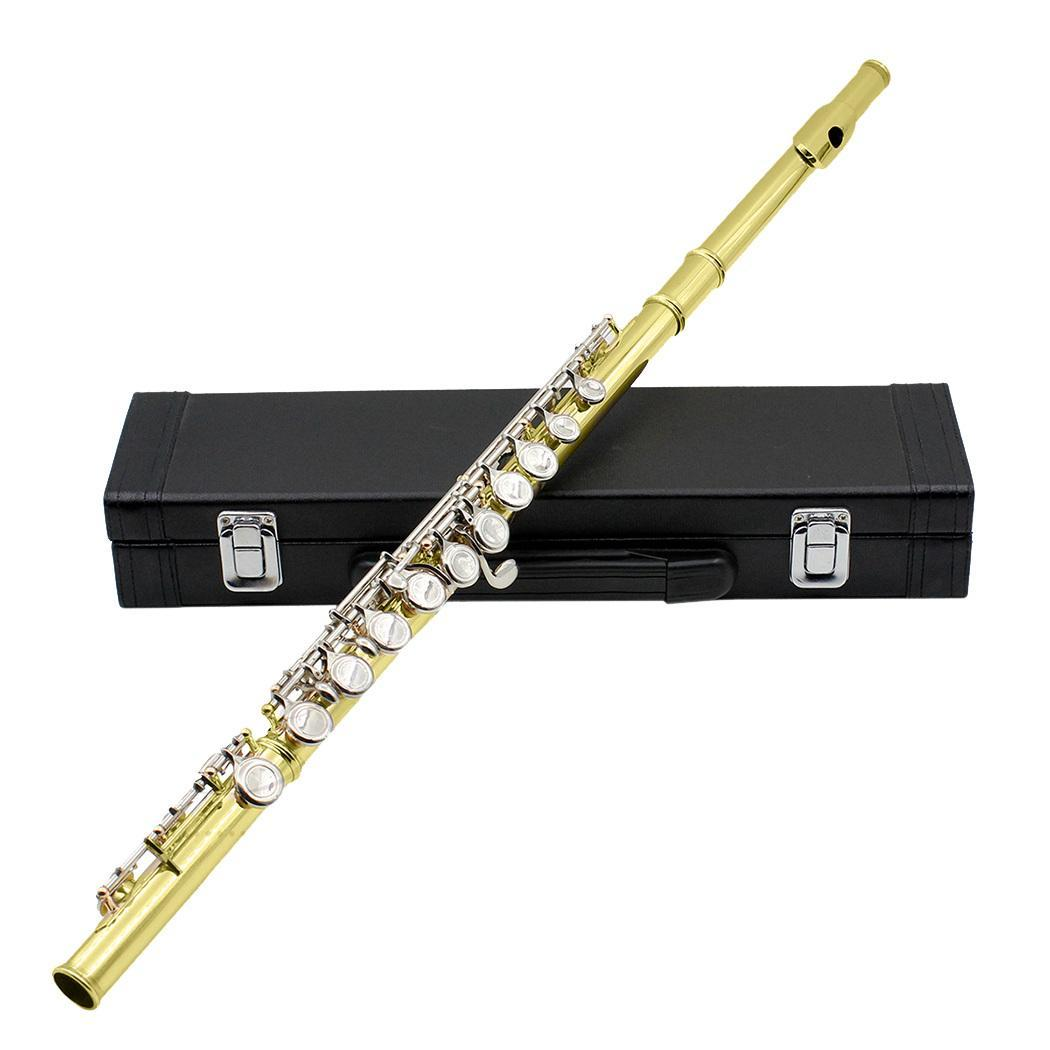 Cupronickel Musical Instrument 16 Hole Flute C Key Wind Instrument Cleaning Cloth Stick Screwdriver Case with Gloves Leather boxCupronickel Musical Instrument 16 Hole Flute C Key Wind Instrument Cleaning Cloth Stick Screwdriver Case with Gloves Leather box