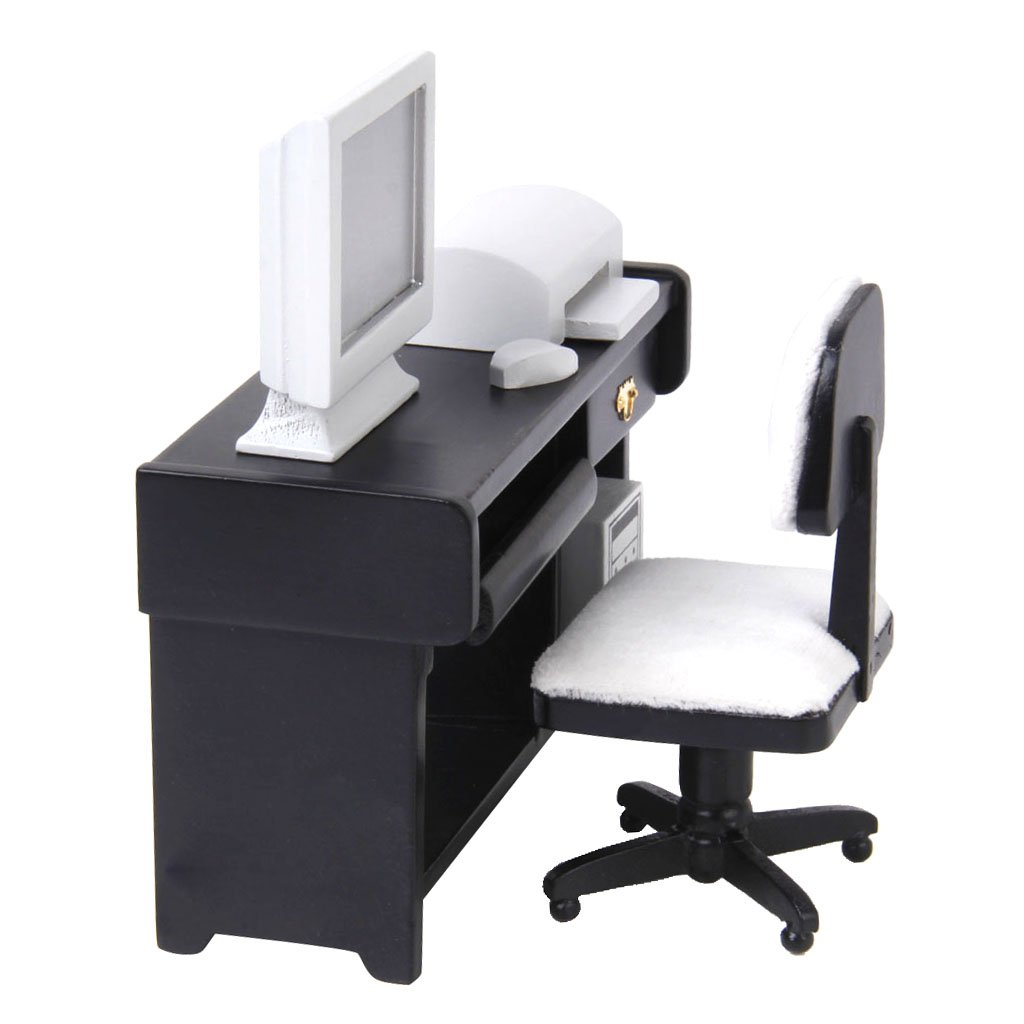 1/12 Miniature Computer Desk Chair Printer Doll House Furniture Role Playing Game Birthday Gift for Children Toddler Kids