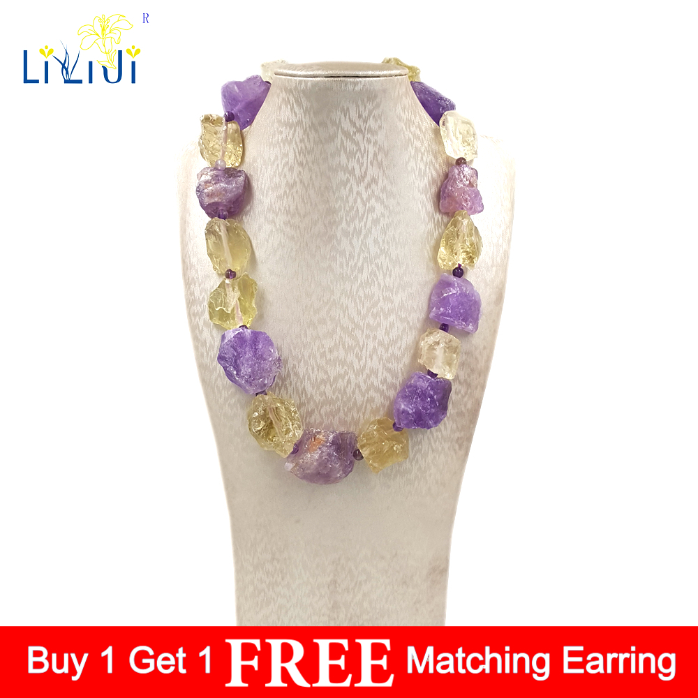 LiiJi Unique Real Amethysts Lemon quartzs Raw Stone Jades Toggle Clasp Huge Chunky Necklace 50cm/20inches Mothers Day Nice GiftChain Necklaces   -