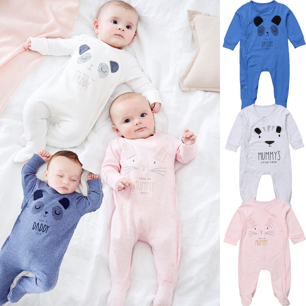 Hot Newborn Baby Boy Girl Clothes Cartoon Animal Daddy Mummy Print Romper Sleep Suit Fit Feet Outfit Set