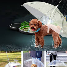 Transparent Pet Umbrella Portable Built-in Leash Puppy Umbrella Cat Raincoat(China)