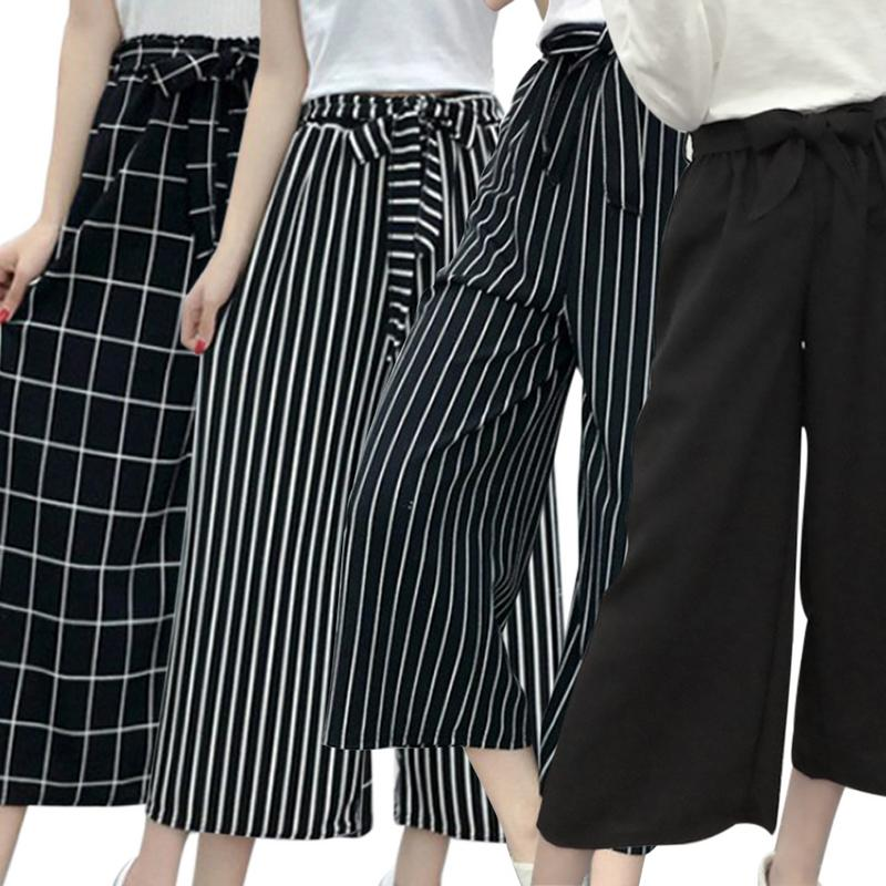 Women's Loose Plus-size Casual Striped Wide-legged   Capri     Pants   with Elastic ribbon Loose Wide Leg Trousers