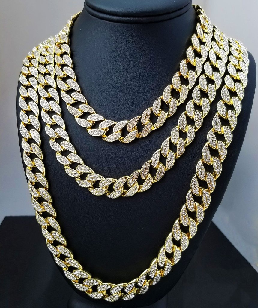 Iced Out Bling Rhinestone Crystal Gold Finish Miami Cuban Link Chain Mens Hip Hop Necklace Jewelry 18,20, 24, 30 InchIced Out Bling Rhinestone Crystal Gold Finish Miami Cuban Link Chain Mens Hip Hop Necklace Jewelry 18,20, 24, 30 Inch