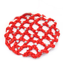 Hair Nets Ballet Dance Skating Crochet Fanchon Rhinestone Hair Net Styling Headwear Accessories Beautiful Bun Cover Snood(China)