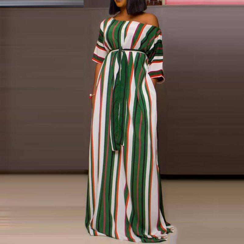 Африканский этнический стиль горошек Макси платье для женщин зеленая полоса Свободные Повседневное большой пышное платье Высокая талия кр...