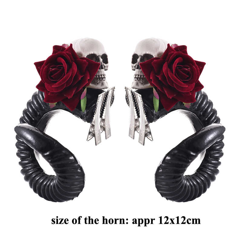 ... Gothic Devil Horns Cosplay Sleep Style Gothic RAM Headband Hair Clips  Lolita Accessories For Party ... 56be68387f94