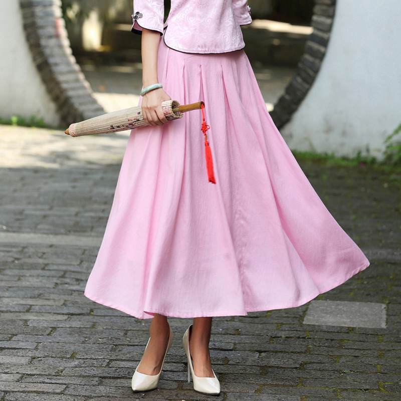 Befree Wind Maxi Skirt Spring Summer Autumn High Waist Cotton Pink White Skirt Woman Solid Color School Style Pleated Skirt Long