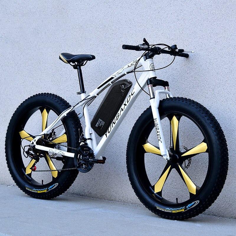 26 polegada neve bicicleta de montanha elétrica 48v bateria de lítio 500w motor gordura ebike 4.0 pneus alta velocidade sem escova bicicleta elétrica