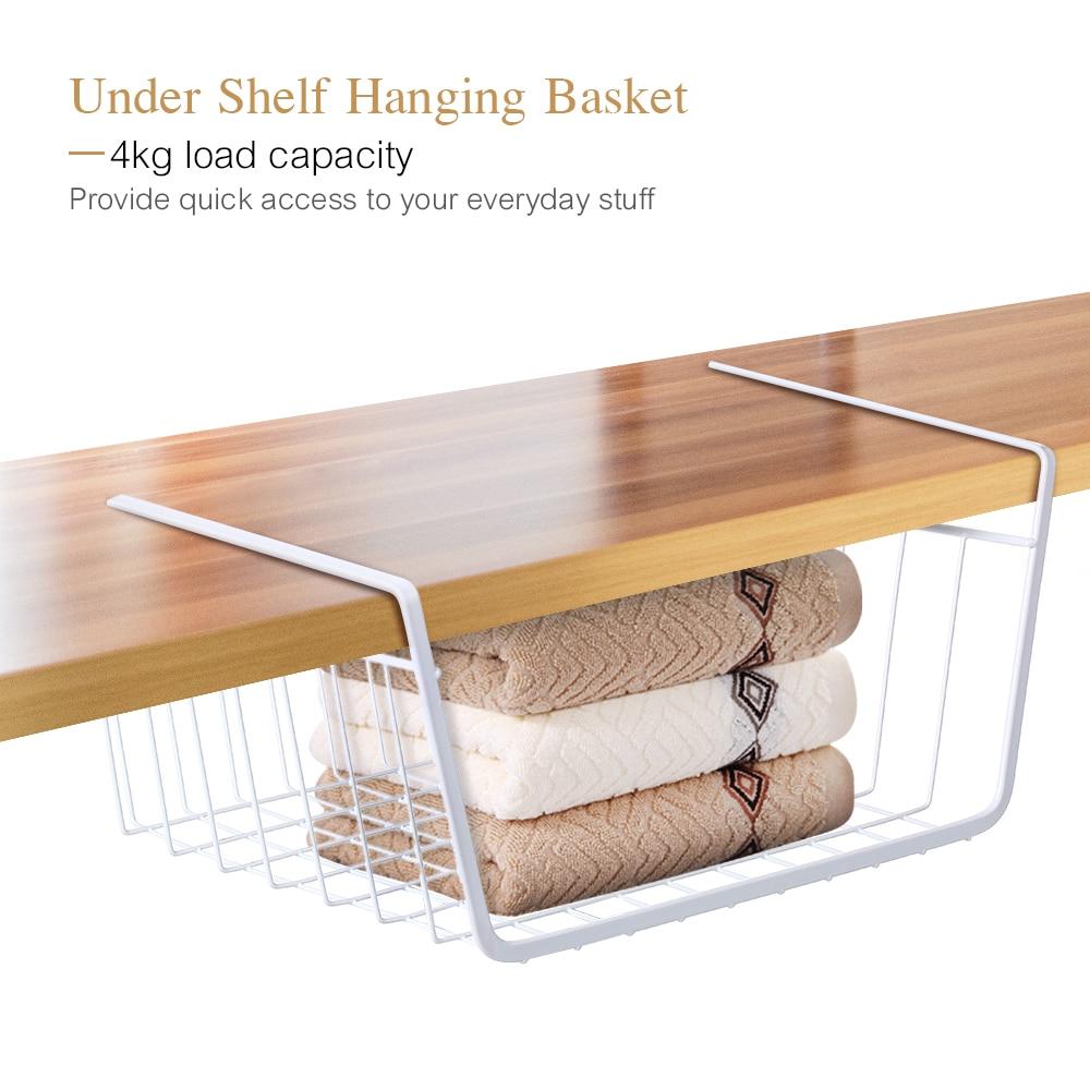 Under Shelf Basket Storage Space Saving Steel Bronze: Kitchen Storage Basket Metal Wire Under Shelf Hanging