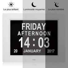 LED Display Digital Alarm Desk Clock Auto Dimming 8 Languages Reminder