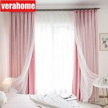 Ins Sterren Verduisterende Gordijnen Voor De Meisjes Slaapkamer Romantische Gordijn Gordijnen Met Witte Tule Voor Windows Behandeling