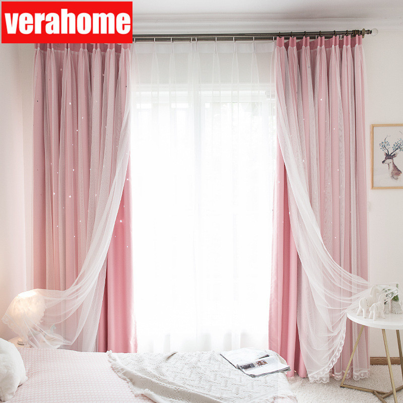 Ins  Stars Blackout Curtains For Living Girls Room Bedroom Romantic Curtain Drapes With White Tulle For Windows Treatment