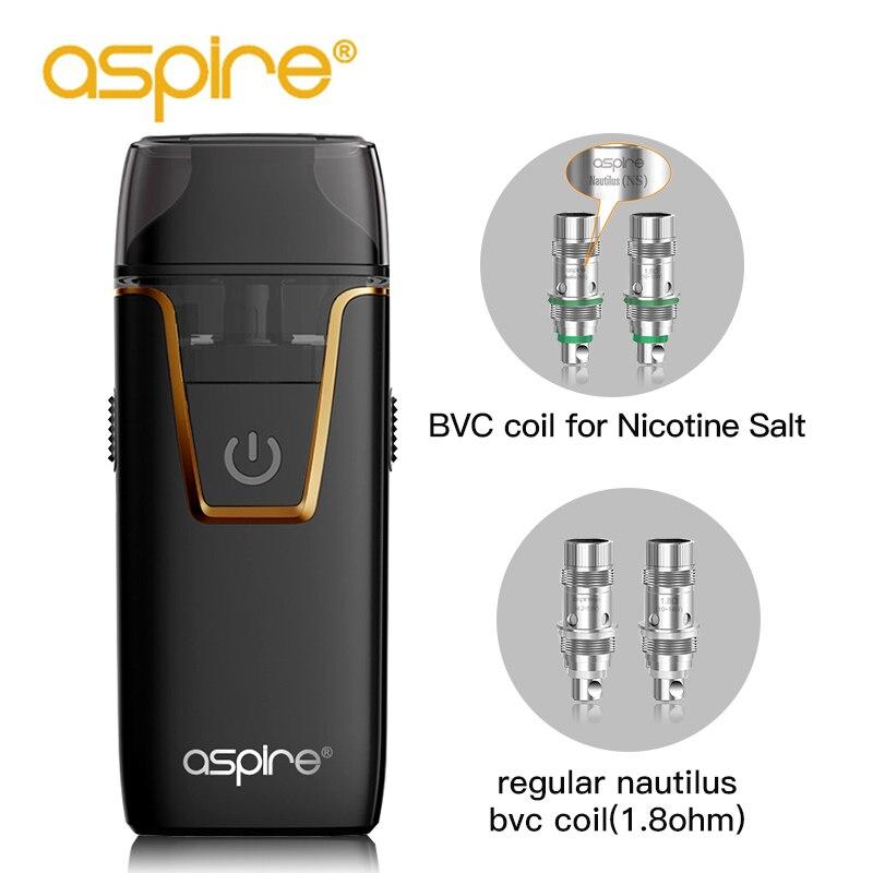 Aspire Nautilus AIO Vape kit 4,5 ml Kapazität Pod fit Nautilus BVC 1.8ohm Spule Eingebaute 1000 mAh Batterie Elektronische Zigarette heißer