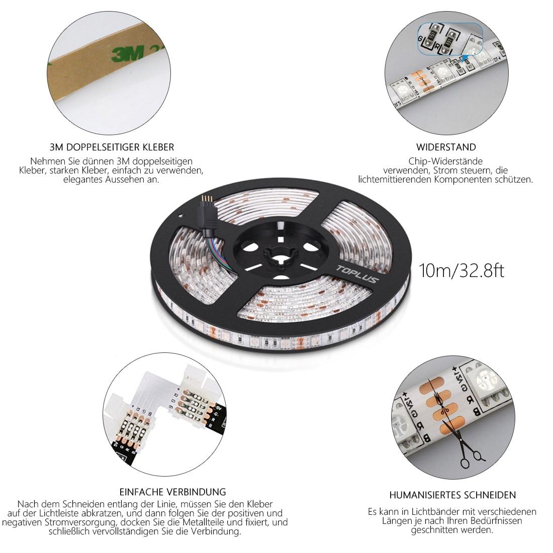 1 pc SMD 5050 RGB LED bande étanche 10 M 300 LED DC 12 V lumière LED bandes flexibles néon bande Monochrome UK/EU prise - 5
