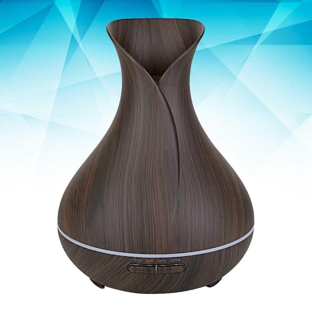 400 ml Дерево Ваза с текстурой дерева Стиль эфирное масло диффузор ультразвуковой увлажнитель прохладный туман с светодиодный индикаторами-Великобритания Plug